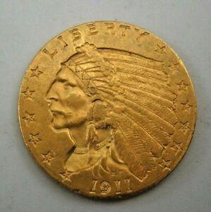 1911 US - $2 1/2 Dollar Gold Indian Head, Quarter Eagle Coin