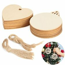 US 20Pcs Round Heart Wooden Discs Predrilled Wood Slices DIY Christmas Ornaments