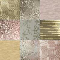 Arthouse Champagne Gold Rose Gold Metallic Wallpaper Vinyl Floral Geometric Leaf