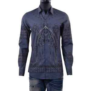 DOLCE & GABBANA GOLD Slim Fit Gothic Keys Print Shirt Camicia Gray Cotton 06088