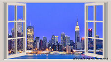 New York Landscape Window View Repositionable Color Wall Sticker Wall Mural 3 FT