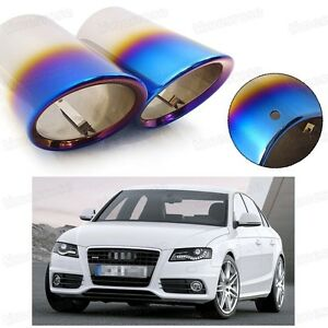 2Pcs Car Exhaust Muffler Tip Tail Pipe End Trim Blue for Audi A4 2008-2015 #2031