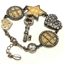 Pilgrims Embellished Charm Bracelet Silver Beige Romantic Cross Key Heart