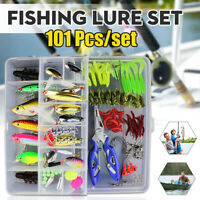 101Pcs/Set Fishing Lures Tackle Spinners Plugs Soft Bait Pike Trout Salmon W/Box