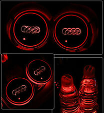 2p Colorful Led Car Cup Holder Bottom Pad Mat Auto Atmosphere Fit For Audi