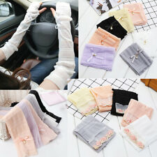 Lace Bow Pearl Long Fingerless Gloves Breathable Sunscreen Driving Arm Sleeve