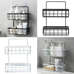 2 Tier Wall Bathroom Shower Towel Storage Basket Rack Kitchen Caddy Shelf Holder