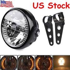 "New 7"" Motorcycle Bike Headlight LED Turn Signal Light w/Black Bracket Mount US"