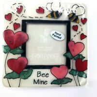Joan Baker Hand Painted Magnetic Photo Frame Stripes /& Hearts