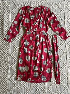 Vintage Bill Blass Dress, 1980s Silk Floral Faux-Wrap dress, S/M, with Belt