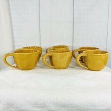Pottery Barn Sausalito Set Of 6 Cups Coffee Tea Yellow Gold Amber Mexico