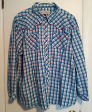 Womens-Size-2X-Shirt-Western-Style-Bit-&-Bridle-Teal-Pink-Checked-Cotton-Poly