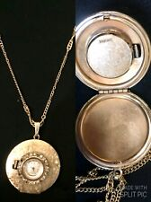 PANTO Pendant Watch Manual Wind (Works) Picture Locket Goldtone Crystal Bling