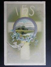 Greeting IHS All Easter Joys Depicts White Dove & Forget Me Knots c1909 Postcard