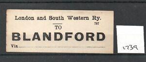 London & South Western Railway LSWR - Luggage Label (1739) Blandford