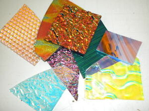 CBS Dichroic Glass Scrap: 1 Pound Pack. 90COE Variety MIXED on Clear & Black