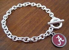 University of Alabama Crimson Tide SILVER CHARM TOGGLE BRACELET jewelry red A