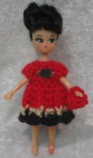 """Made to Fit 5"""" Dolly Darling #10 Crochet Dress & Purse, Handmade doll clothes"""