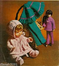 "Knitting Pattern Doll Clothing For  Baby Dolls & Fashion Dolls 12-14-16"""