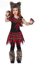 Girls Werewolf Costume Scottish Wildcat Fancy Dress Halloween Outfit Age 3-12