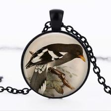 MAGPIE Pendant Black Glass Cabochon Necklace chain Pendant Wholesale