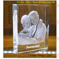 Personalized Photo Frame Custom Laser Etched Crystal Glass Birthday Wedding Gift