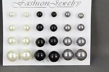 Cream Black Grey earrings 12 pair set pack graduated faux pearl bead stud post