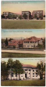 3 - BEREA COLLEGE Berea KENTUCKY -c1930 POSTCARDS Hand-Colored LOG HOUSE Library
