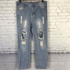 Falmer Heritage Womens High Rise Mom Jeans Blue Light Ripped Front Medium