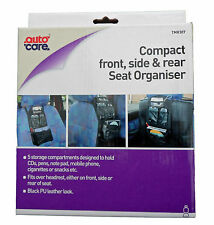 Autocare In-Car Organiser Compact Front, Side, Rear Seat Tidy Black Leather Look