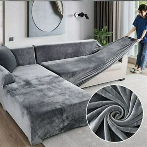 Plush Sofa Covers Living Room Velvet Elastic Corner Sectional Couch Cover Set