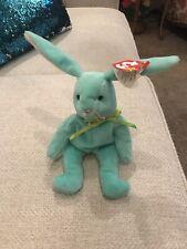 RARE-Ty Hippity Rabbit Beanie Baby- Misprinted-Tag Errors 1996 Green Bunny. Mint