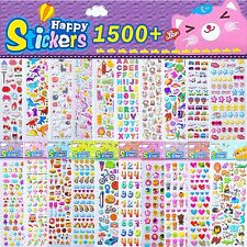 Stickers Kids 3D Reward School Sheets Colourful Vinyl Fun Cartoons Bag Scrapbook