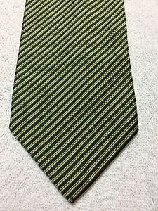 BANANA REPUBLIC MENS TIE 4 X 60 GREEN AND GOLD STRIPED