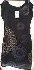 Desigual black short sleeve floral dress size 40 New with tags