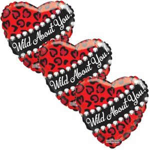3 pc Wild Leopard I Love You Heart Happy Valentines Day Balloon Bouquet Kiss