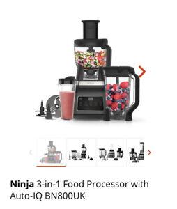 ** NINJA 3-IN-1 FOOD PROCESSOR WITH AUTO-IQ BN800UK 1200W ** BLENDER
