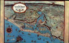 USA postcard California 1956 Newport Harbor Orange County Map Karte Landkarte