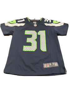 Nike Kam Chancellor #31 Seattle Seahawks Navy Blue Green Jersey Size 12 Small