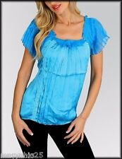 NEW SEXY Women's Top Blue Turquoise Satin Scrunched Blouse 1/2 Sleeves S M L