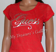 NEW Guess Logo Burnout T-shirt Tee Top Orange Size M NWT