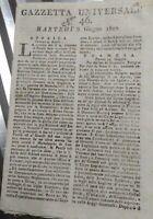 1802 GAZZETTA UNIVERSALE: CONCORDATO DEL PAPA CON FRANCIA; BALLO A FIRENZE......