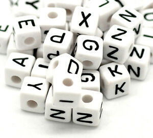 100X Mixed Cubic Acrylic Letter/ Alphabet Spacer Beads 10x10mm