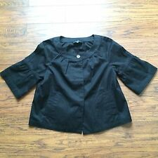 MUST SEE!!  TALBOTS SOLID BLACK CROPPED BUTTON FRONT SWING JACKET! SZ 8