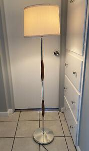 Vintage Mid Century Danish Modern Circa 1960's Teak Or Walnut Floor Lamp