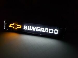 1PCS SILVERADO LED Logo Light Car For Front Grille Badge Illuminated Decal