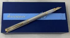 Waterman Sterling Gentleman Fountain Pen - Silver with 18k Nib - Box & Booklet