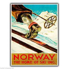La norvège ski ski-ing rétro vintage pub metal wall sign plaque poster print