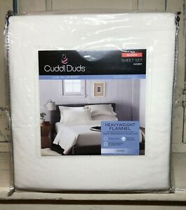 NEW Cuddl Duds Queen Heavyweight Warm Flannel Ivory Sheet Set 100% Cotton