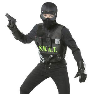 SWAT Kostüm für Kinder Polizeikostüm mit Weste Soldat Polizist Kinderkostüm Army
